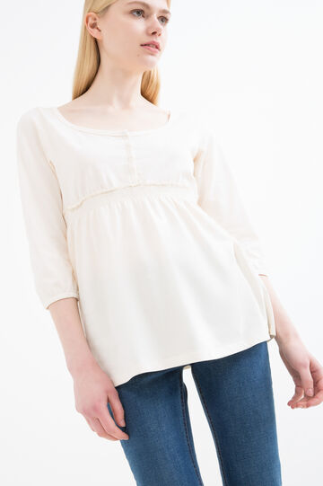100% cotton T-shirt with buttons, Milky White, hi-res