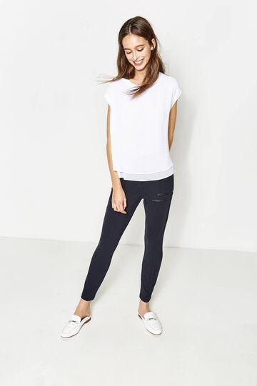High-waisted trousers in stretch viscose, Dark Blue, hi-res