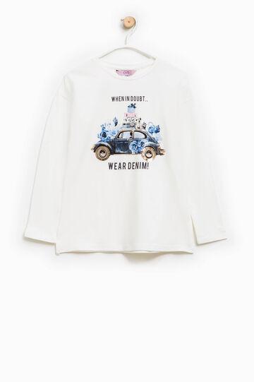 Camiseta en algodón elástico con estampado, Blanco nata, hi-res
