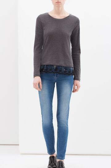 T-shirt maniche lunghe cotone, Grigio, hi-res