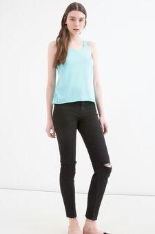 Solid colour cotton blend top, Light Blue, hi-res