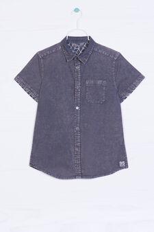 Camicia di jeans con taschino, Grigio antracite, hi-res