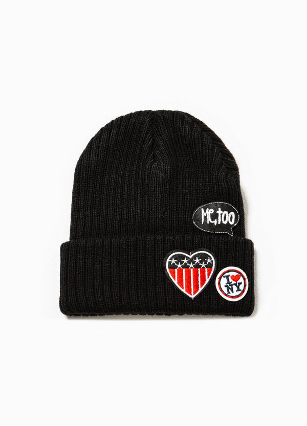 Cappello a cuffia a costina con patch | OVS