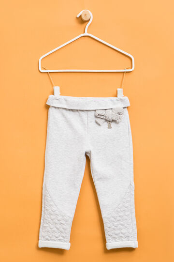 Stretch cotton trousers with bow, Grey Marl, hi-res