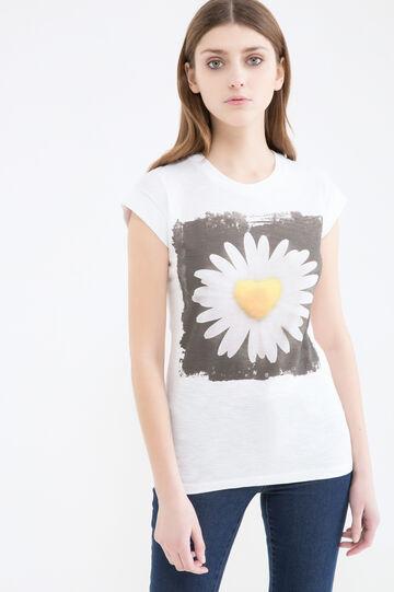 T-shirt cotone stampa fiore, Bianco, hi-res