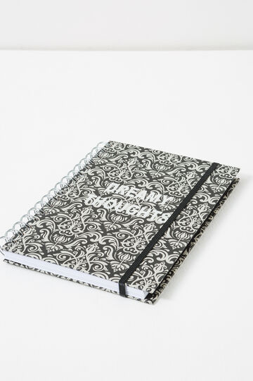 Spiral bound jotter pad with elastic, Black/White, hi-res