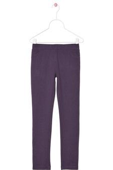 Stretch cotton leggings., Purple, hi-res