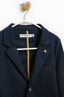 Stretch viscose blazer with two-button fastening, Blue, hi-res
