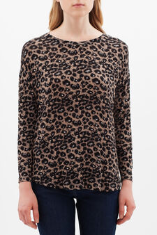 Animal-print T-shirt, Brown, hi-res