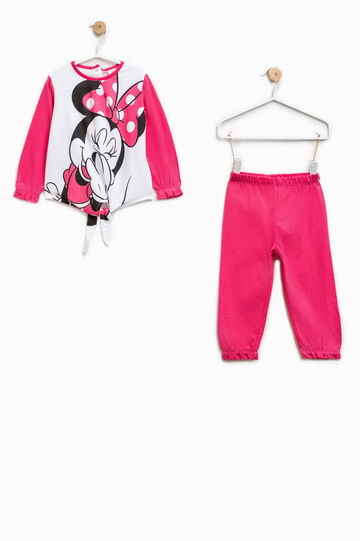 Pijama de algodón con estampado de Minnie, Blanco/Rosa, hi-res
