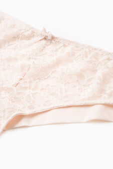 Stretch lace Brazilian cut briefs with bow, Light Pink, hi-res