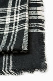 Knitted scarf with check pattern., Black/White, hi-res