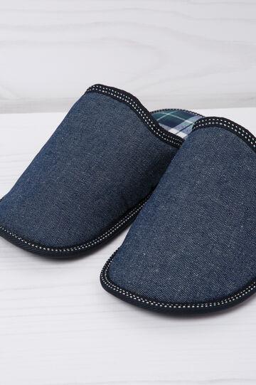 Ciabatte con interno tartan, Blu navy, hi-res