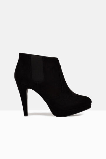 Suede look ankle boots with platform, Black, hi-res