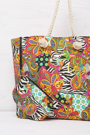 Patterned bag with rope handles, Multicolour, hi-res