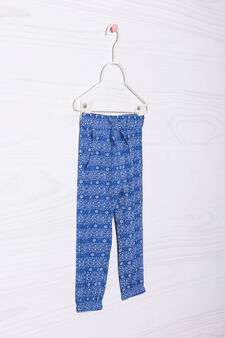 100% viscose patterned trousers, Cornflower Blue, hi-res