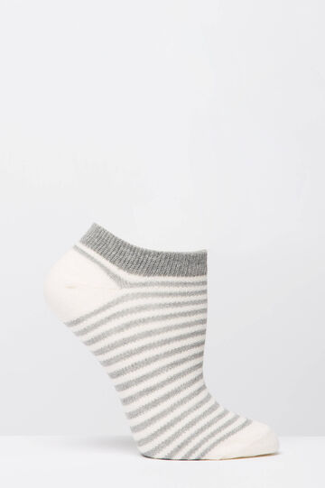Three-pack of short cotton pattern socks, Grey/Pink, hi-res