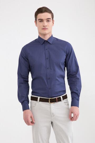 Camicia tinta unita puro cotone, Blu royal, hi-res