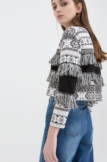 Pullover stretch fantasia con frange, Bianco/Nero, hi-res