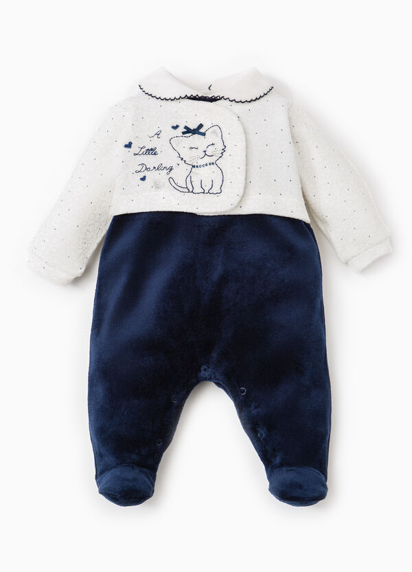 Onesie with feet, embroidery and diamanté design | OVS
