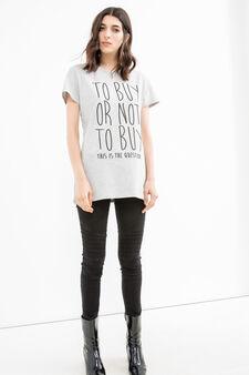 T-shirt cotone stretch stampa lettering, Grigio, hi-res
