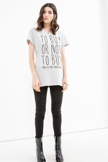 Stretch cotton T-shirt with printed lettering, Grey, hi-res