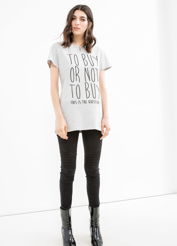 Stretch cotton T-shirt with printed lettering | OVS