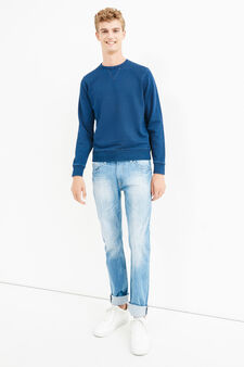 Solid colour 100% cotton sweatshirt, Denim Blue, hi-res