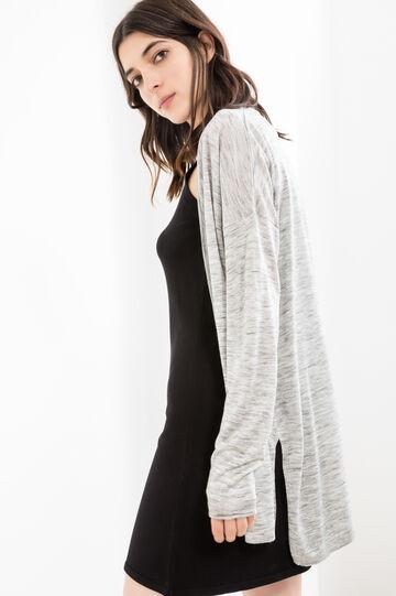 Viscose blend cardigan with splits, Grey Marl, hi-res