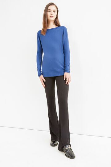 Knitted pullover with boat neck, Denim Blue, hi-res