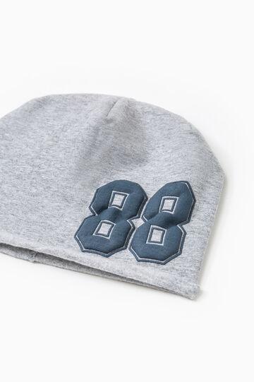 Striped cotton beanie cap, Grey, hi-res