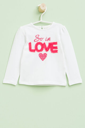 Printed T-shirt with diamantés and tulle, White, hi-res