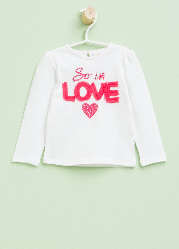 Printed T-shirt with diamantés and tulle | OVS