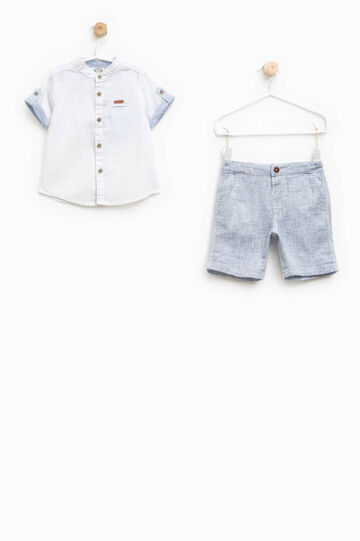 Shirt and Bermuda shorts set, White/Blue, hi-res