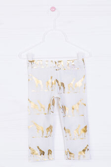 Printed stretch leggings, Milky White, hi-res
