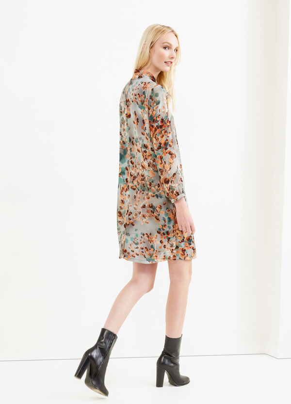 Floral pattern dress with lace tie | OVS