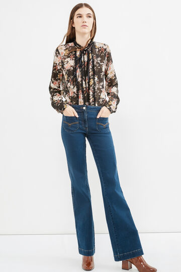 Jeans bootcut con cuciture a contrasto, Blu denim, hi-res