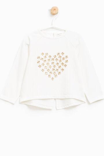 Camiseta de algodón con un bolsillo y bordados, Blanco leche, hi-res