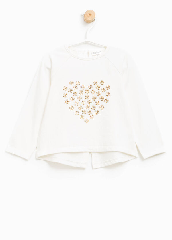 Cotton T-shirt with diamantés and embroidery | OVS