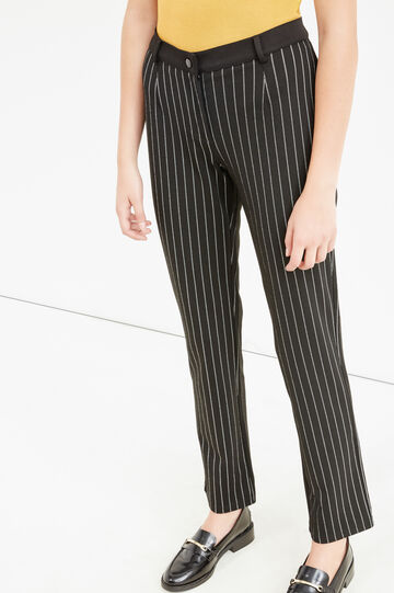 Pantaloni eleganti viscosa a righe, Nero, hi-res