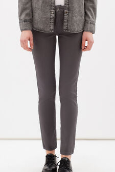 Plain stretch trousers, Grey, hi-res