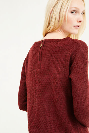 Pullover with boat neck and zip on back, Aubergine, hi-res