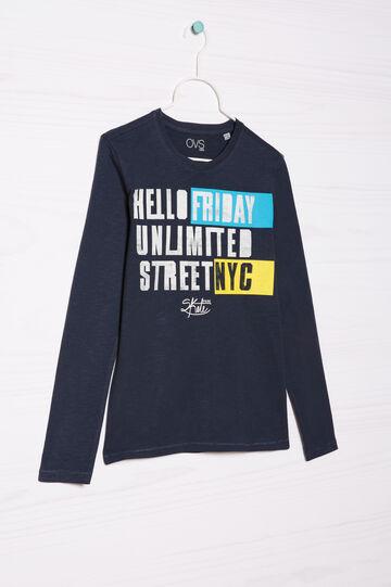 T-shirt puro cotone stampata, Blu navy, hi-res