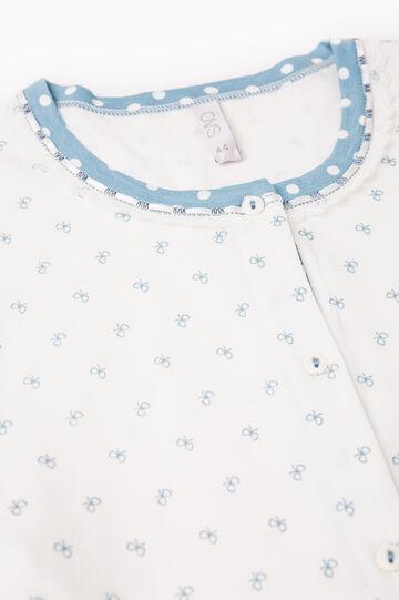 Polka dot cotton pyjamas with bows, White/Light Blue, hi-res