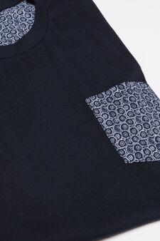 100% cotton pyjamas with pocket, Navy Blue, hi-res
