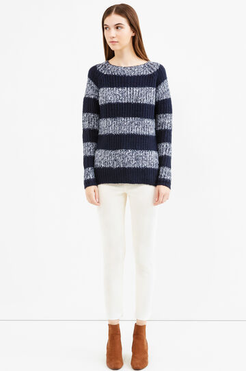 Knitted pullover with striped pattern, White/Blue, hi-res