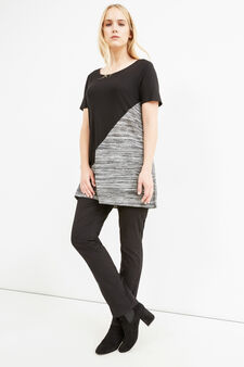 Curvy T-shirt in viscose blend with insert, Black, hi-res