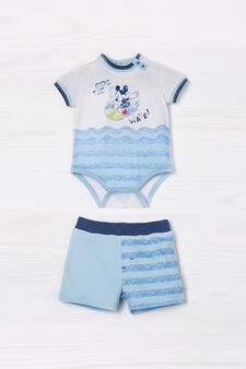Striped pattern cotton outfit, White/Light Blue, hi-res