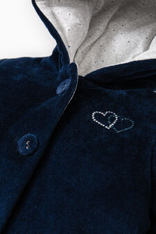 Jacket with hood and diamantés, Navy Blue, hi-res