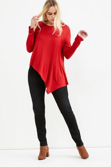 T-shirt fondo asimmetrico Curvy, Rosso, hi-res
